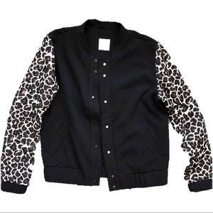 Shilla Leopard Sleeve Letterman Jacket